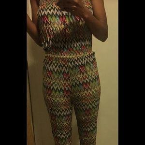 Multicolor strapless chevron jumpsuit